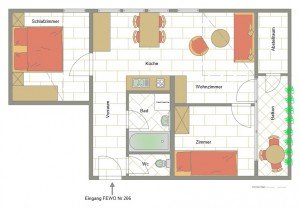 Apartment mit 2 Schlafräume für 3 Pers.