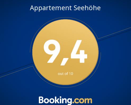 Seehöhe Booking.com Award 2017 mit 9,4 Punkten