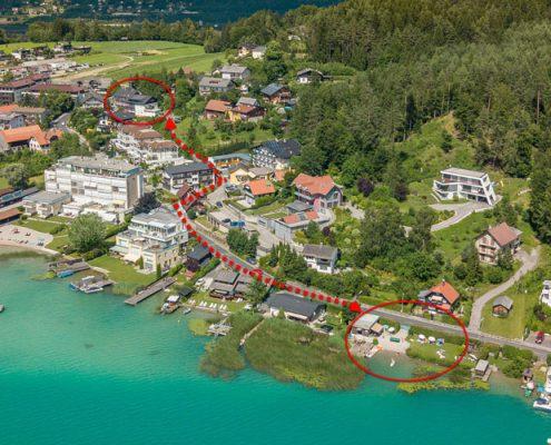 Wegkennzeichnung Pension Seehöhe zum privaten Badestrand