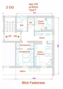 Grundriss des Apartment Typ F, 105