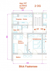 Grundriss Apartment Typ F, Nr. 107